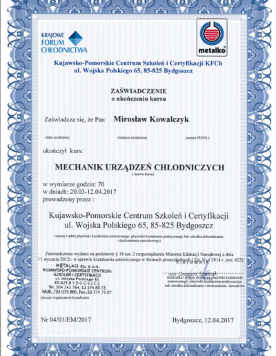 Certyfikat Pompy Ciepła Bydgoszcz Serwis Metalko 2017