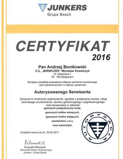 Certyfikat Junkers Pompy Ciepła Bydgoszcz Serwis